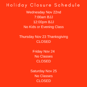 Holiday Closure Schedule